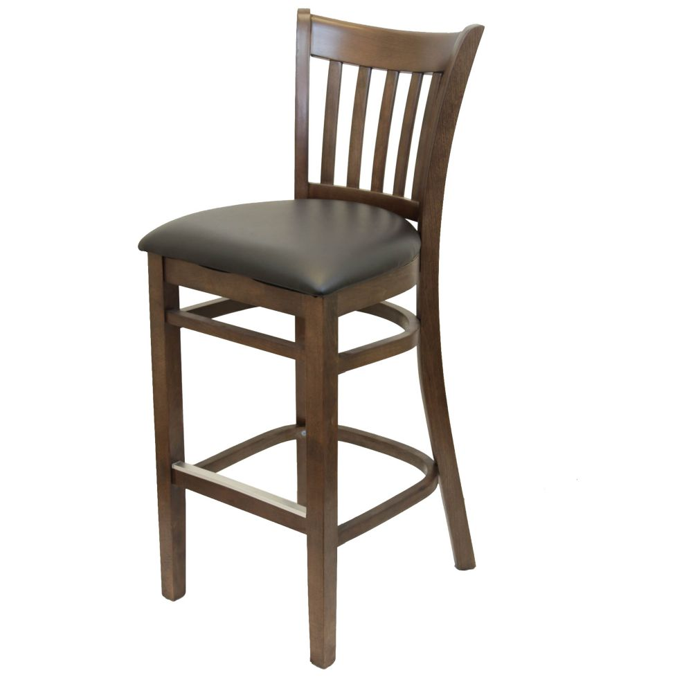 MKLD Commercial Furniture 6242BS-W Vertical Back Stool with Black Seat