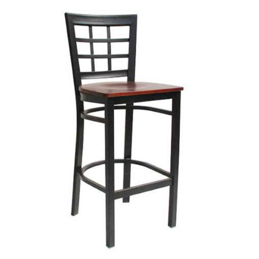 MKLD Commercial Furniture M890BS-M Window Back Stool with Metal Frame