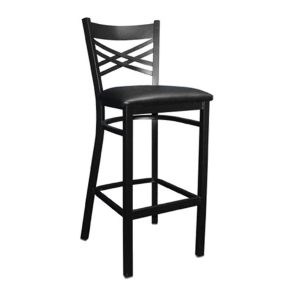 MKLD Commercial Furniture M843BS Cross Back Bar Stool with Metal Frame