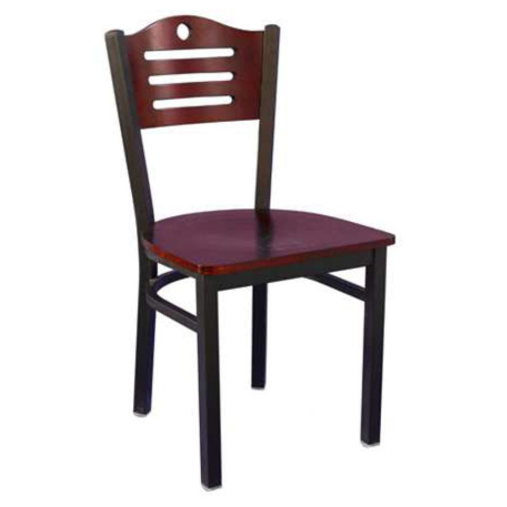 MKLD Commercial Furniture M836B-M Mahogany Wood Chair with Metal Frame