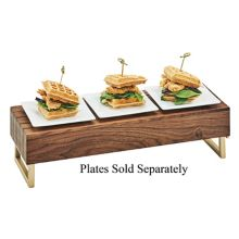 Cal-Mil 3724-46 Mid-Century Wood & Brass Reversible Riser
