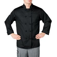 Chefwear® 4400-30 L Black Long Sleeve Cloth Button Chef Jacket