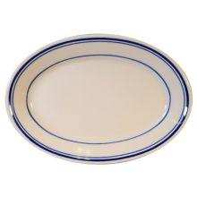 "Homer Laughlin 1521085 Blue Band 8.13"" Oval Plate - 36 / CS"