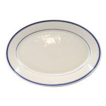 "Homer Laughlin 1561085 Blue Band 12.25"" Oval Plate - 12 / CS"