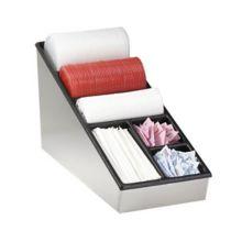 Dispense-Rite NLS-1 S/S 6-Compartment Straw / Lid Organizer