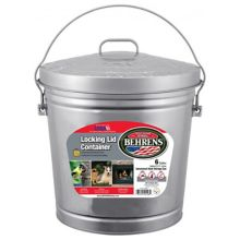 Behrens 6106 Galvanized S/S/ 6 Gallon Pail with Locking Lid