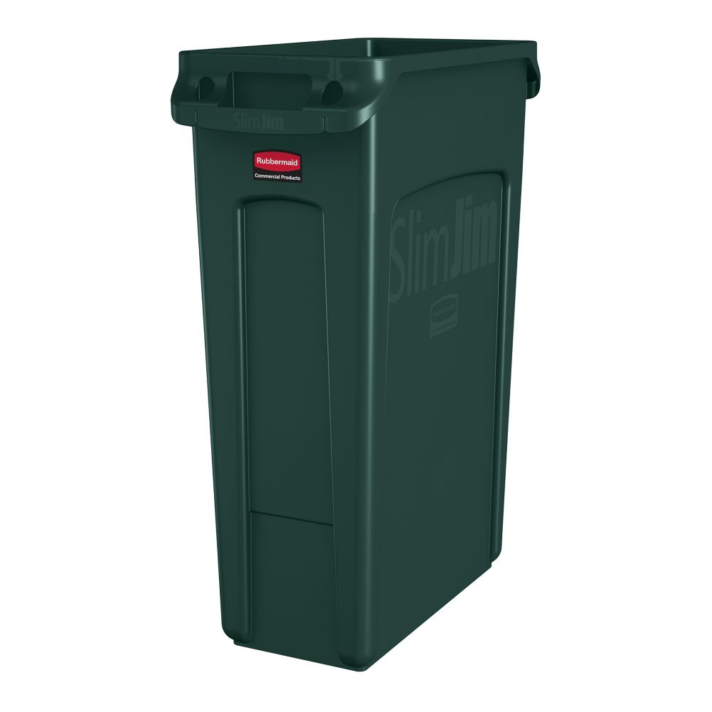 Rubbermaid 1956186 Green 23 Gallon Vented Slim Jim Waste Container
