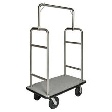 Central Specialties 2599BK-010-GRY 44 x 24 x 72 Carpeted Bellman Cart