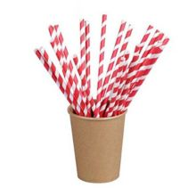 """PackNWood 210CHP19EMBR Red Striped 7.75"""" Paper Straw - 6000 / CS"""