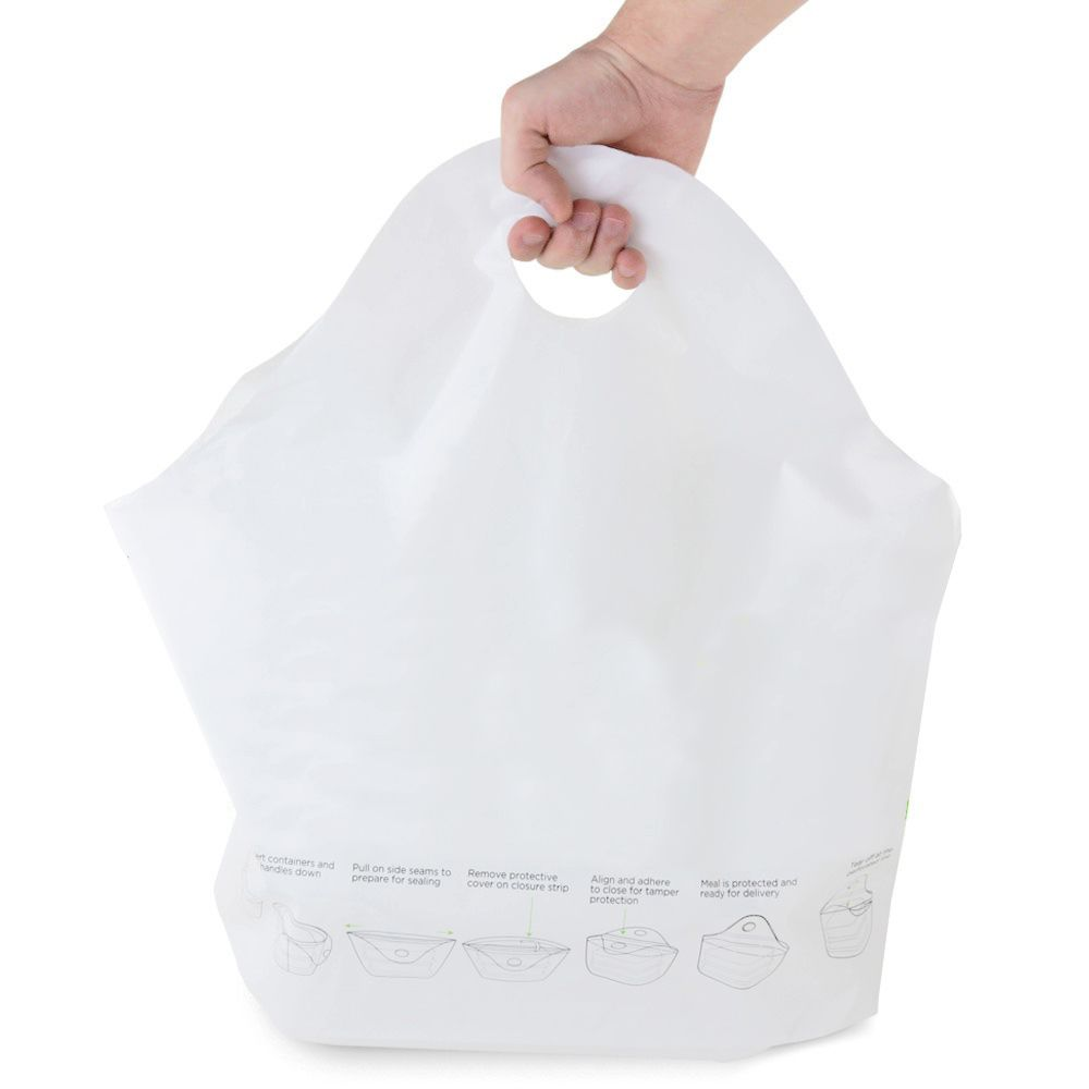 Darling Food Service White Tamper Evident Delivery Bag - 250 / CS
