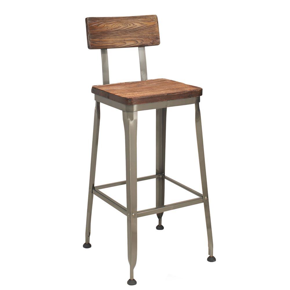 G & A Commercial Seating 645 RA Hudson Bar Stool w/ Reclaimed Wood