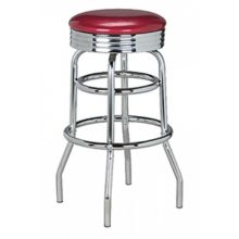 G & A 144 Classic Red Stool with Chrome Frame