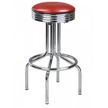 G & A 147 Classic Red Stool with Chrome Frame