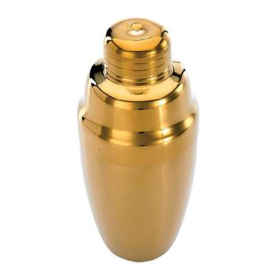 Mercer Culinary M37038GD Gold-Plated 3-Piece 18 Ounce Cocktail Shaker