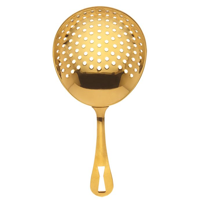 "Mercer Culinary M37028GD Barfly 6.5"" Gold Plated Julep Strainer"