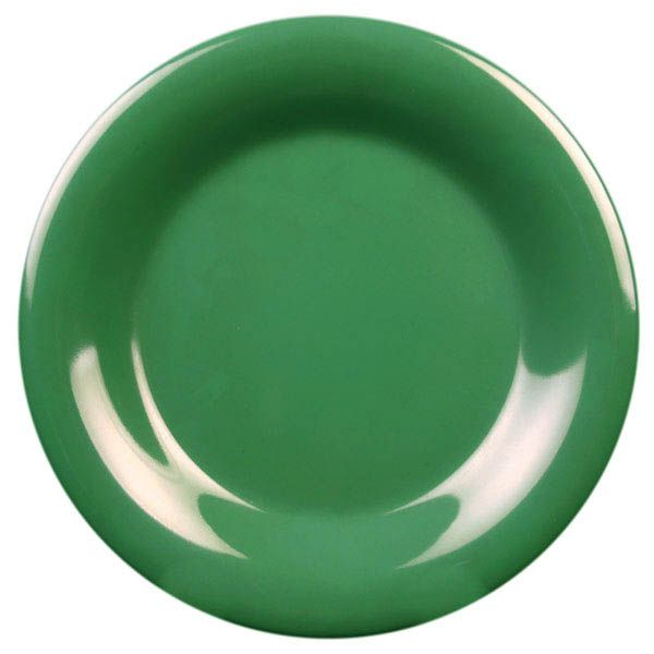 "Thunder Group CR006GR Green 6.5"" Round Wide Rim Plate - 96 / CS"