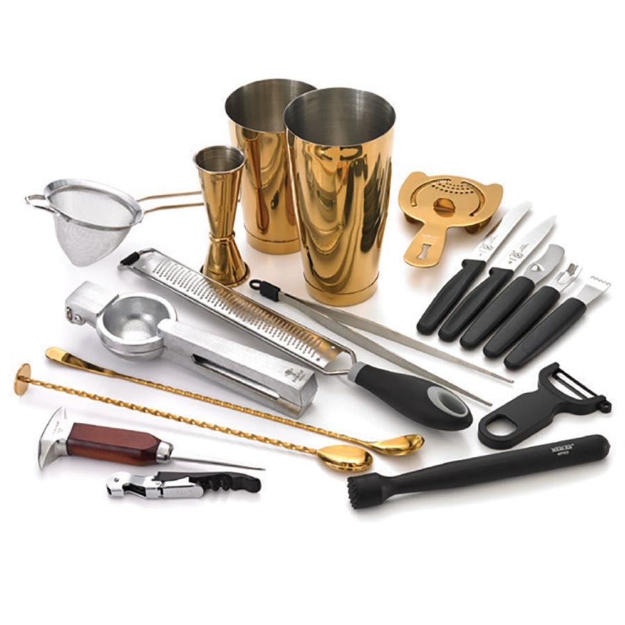 Mercer Culinary M37102GD Barfly® Gold Plated 18-Pc. Deluxe Bar Set