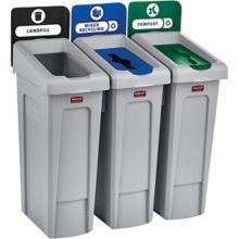 Rubbermaid 2007918 Slim Jim 69 Gallon Recycling Station - 3 / ST