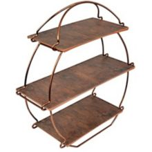 Europaeus TS3000RW 3-Tier Copper Wire / Rustic Wood Tea Stand