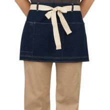 Happy Chef HC147-BLUDN/NAT Blue Denim Short Waist Apron