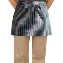 Happy Chef HC147-DNBLUS Blue Denim Stripe Short Waist Apron