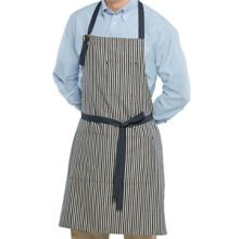 Happy Chef 4390-DNBLUS/BLU Blue Denim Stripe Bib Apron with Pockets