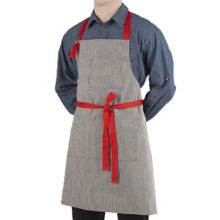 Happy Chef 4390-NATBKS/RED Black / Red Stripe Bib Apron with Pockets