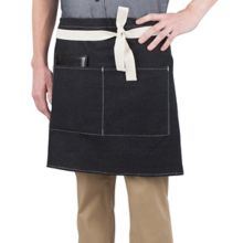 Happy Chef HC122-BLKDN/NAT Black Denim Short Bistro Apron