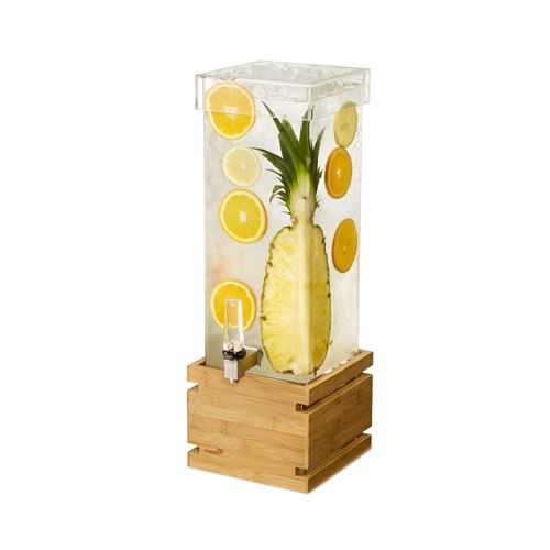 Rosseto LD179 Bamboo 2 Gallon Square Beverage Dispenser