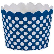 Hoffmaster 600101 Navy Blue Polka Dot 1.5 x 2 In Baking Cup - 550 / CS