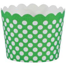 "Hoffmaster 600100 Green Polka Dot 1.5 x 2"" Baking Cup - 550 / CS"