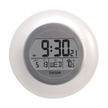 Taylor Precision 1750 White 9-1/4 In. Atomic Wall Clock / Thermometer