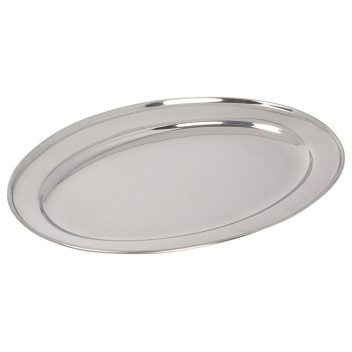"Winco OPL-12 S/S 12"" x 8-5/8"" Oval Serving Platter"