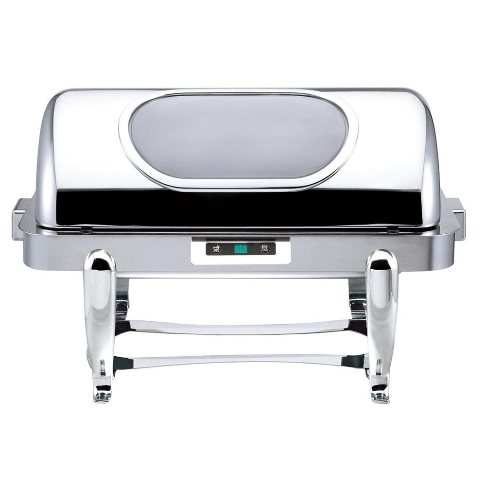 Bon Chef 16040CH Chrome 9 Quart Rectangle Chafer with Roman Legs