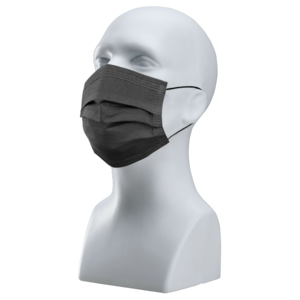 Darling Food Service Wrapped Disposable Black 3-Ply Face Mask - 50 / PK