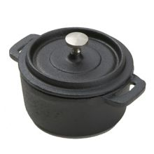"""American Metalcraft CIPR42 Cast Iron 4"""" Round Casserole with Lid"""