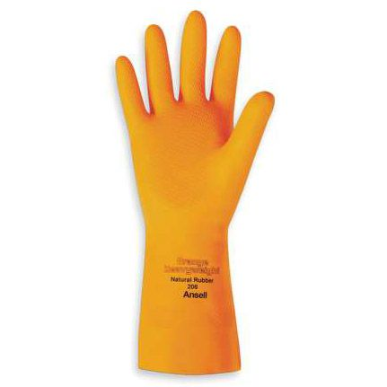 Ansell 208/192085 Large Rubber Orange Heavyweight Latex Glove - Pair