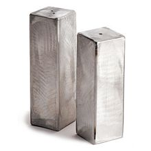 Orion Trading SS02/03(RS) Random Sanded Set Sq. Salt / Pepper Shakers