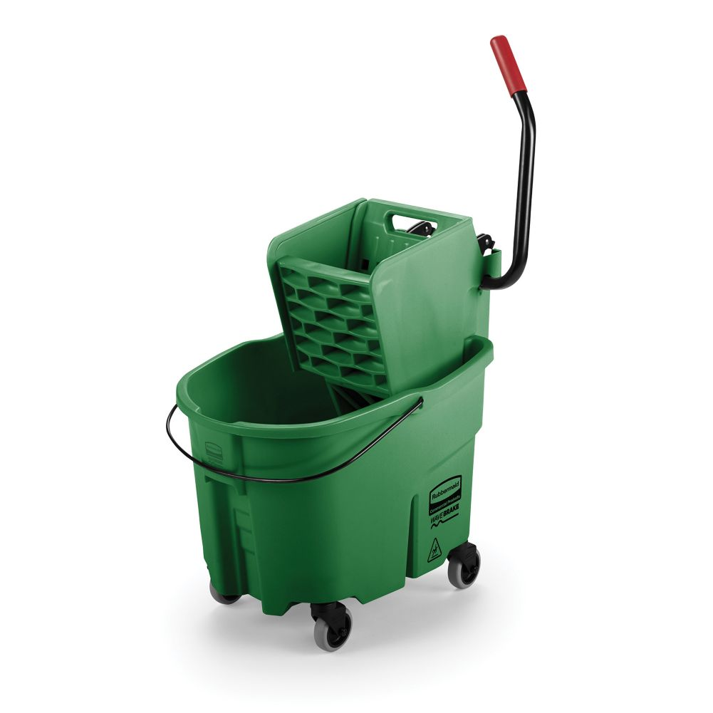 Rubbermaid FG758888GRN WaveBrake 35 Quart Side Press Wringer Combo