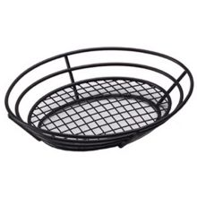 "G.E.T.® 4-38814 Black 11"" Oval Basket with Grid Base"
