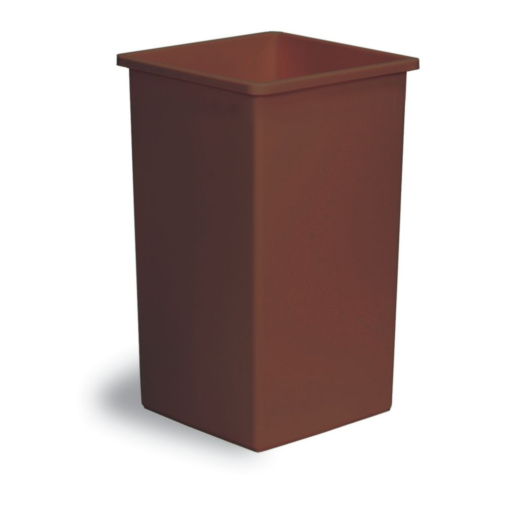 Continental 25BN Swingline™ Brown Square 25 Gal Receptacle