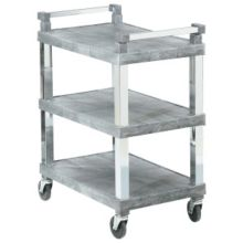 Vollrath 97102 Gray Open 3-Shelf Utility Cart with Chrome Uprights