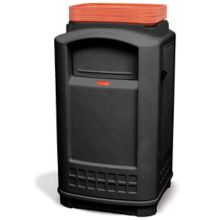 Rubbermaid FG396300BLA Plaza Black 50 Gallon Trash Can with Tray Top