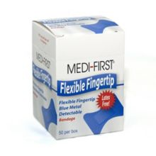 Afassco 436 XL Blue Metallic Adhesive Fingertip Bandages - 35 / BX