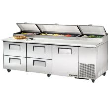 True® TPP-93D-4 S/S 1-Door 4-Drawer 30.9 Cu Ft Pizza Prep Table