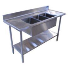 """Amtekco CSMS-48 48"""" Mini 3-Compartment Sink w/ Two Drain boards"""