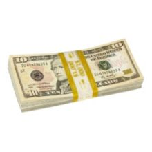 Block & Co 1160502G12 Yellow $10.00 Currency Strap - 1000 / BX