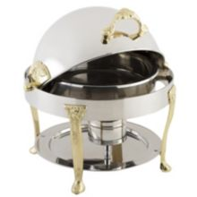 Bon Chef 17014 Round 3 Qt. Petite Chafer w/ Brass Renaissance Legs
