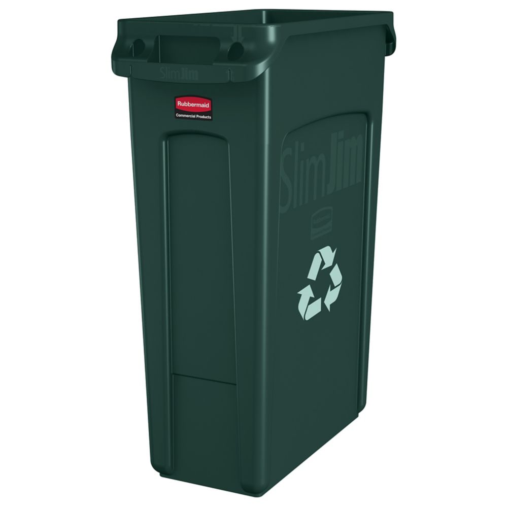 Rubbermaid Fg354007grn Slim Jim Vented 23 Gallon Recycling Container Wasserstrom