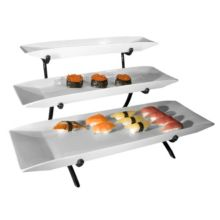 Gourmet Display PP103-13 Black 3-Tier Platter Stand with 3 Platters
